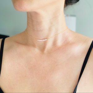14KGF Tiny Pink Opal Charm Choker Necklace